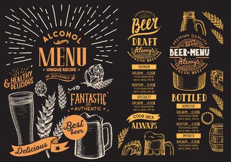 Bierkarte für Restaurant. Entwurfsvorlage mit handgezeichneten grafischen Abbildungen. Getränkeflieger für Bar.