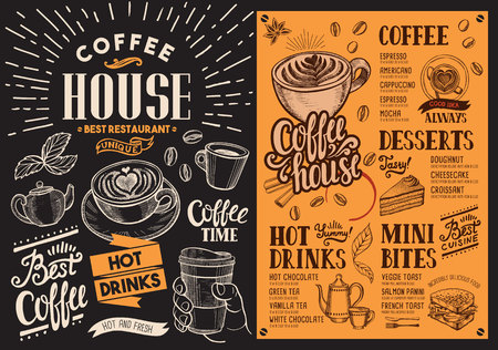 Coffee restaurant menu blackboard. drink flyer for bar and cafe. Design template with vintage hand-drawn food illustrations.