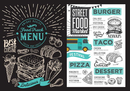 Food truck menu for street festival on blackboard background. Design template with hand-drawn graphic illustrations.