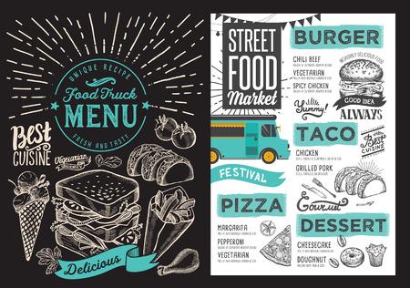 Menú de camiones de comida para festival callejero sobre fondo de pizarra. Plantilla de diseño con ilustraciones gráficas dibujadas a mano.