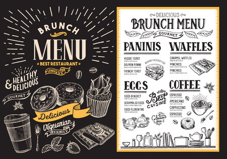 Brunch restaurant menu. food flyer for bar and cafe. Template with vintage hand-drawn illustrations.