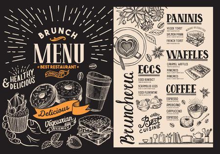 Brunch restaurant menu. food flyer for bar and cafe. Design template on blackboard background with vintage hand-drawn illustrations.