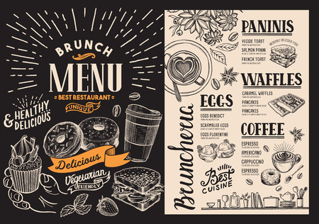Brunch restaurant menu. food flyer for bar and cafe. Design template on blackboard background with vintage hand-drawn illustrations.