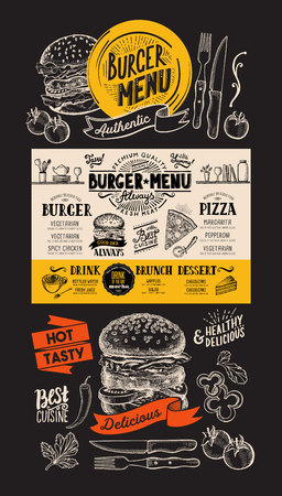 Burger restaurant menu. Food flyer for fastfood bar and cafe. Design template with vintage hand-drawn illustrations. Illustration