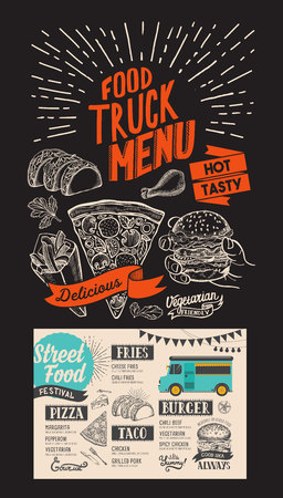 Food truck menu for street fest. Design template with mexican hand-drawn graphic illustrations. Vectores