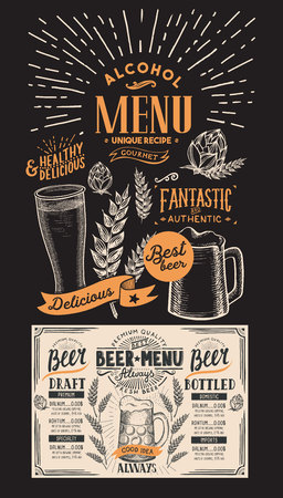 Beer drink menu for restaurant and cafe. Design template with hand-drawn graphic illustrations. beverage flyer for bar on blackboard background.