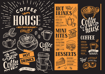 Coffee restaurant menu. Beverage flyer for bar and cafe. Design template with vintage hand-drawn food illustrations.