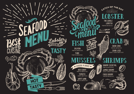 Seafood menu for restaurant on chalkboard background. food flyer for bar and cafe. Design template with vintage hand-drawn illustrations. Ilustrace