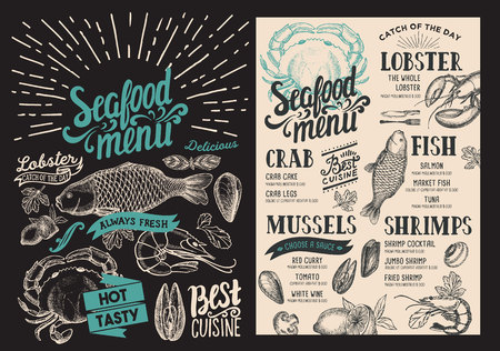 Seafood menu for restaurant on blackboard background. food flyer for bar and cafe. Design template with vintage hand-drawn illustrations. 写真素材 - 104660909