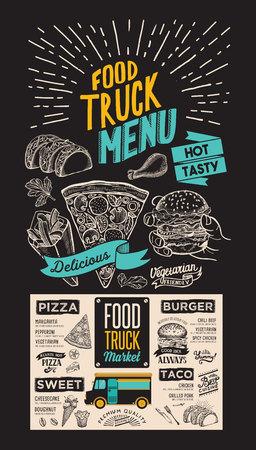 Food truck menu for street fest. Design template on blackboard with vintage hand-drawn graphic illustrations. Vector Illustration