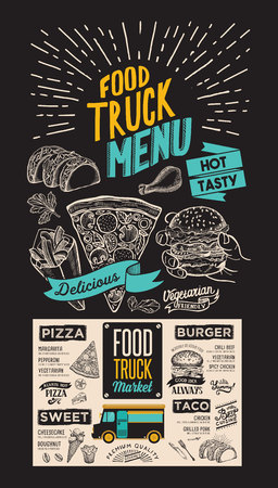 Food truck menu for street fest. Design template on blackboard with vintage hand-drawn graphic illustrations.
