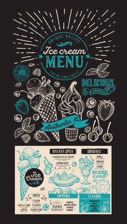 Ice cream menu. dessert food flyer for restaurant. Design template with vintage hand-drawn illustrations.