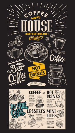 Coffee restaurant menu.  drink flyer for bar and cafe. Design template with vintage hand-drawn food illustrations on chalkboard background. Фото со стока - 105867743
