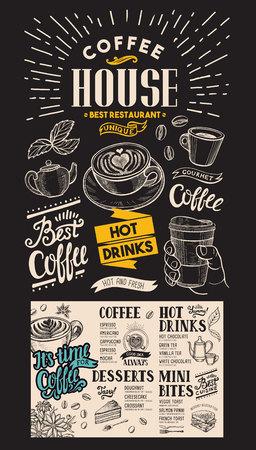 Coffee restaurant menu.  drink flyer for bar and cafe. Design template with vintage hand-drawn food illustrations on chalkboard background. Illustration