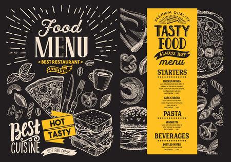 Food menu. restaurant flyer on blackboard background. Design template with vintage hand-drawn illustrations.