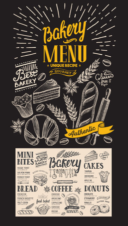 Bakery menu for restaurant. Design template with dessert hand-drawn graphic illustrations.