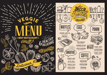 Veggie menu for restaurant. Food flyer for vegetarian cafe. Design template with food hand-drawn graphic illustrations. Illustration