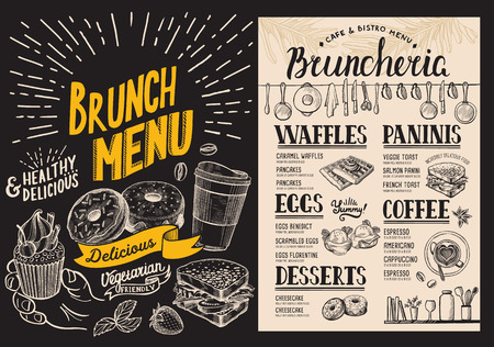 Brunch-Restaurantmenü auf Tafelhintergrund. Essensflyer für Bar und Cafe. Designvorlage mit handgezeichneten Illustrationen des Jahrgangs.
