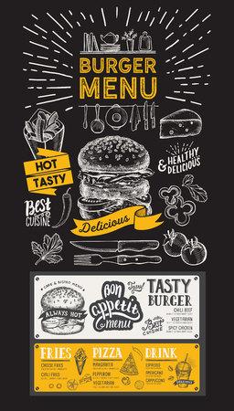 Burger restaurant menu.Food flyer for bar and cafe. Design template with vintage hand-drawn illustrations. Vector Illustration