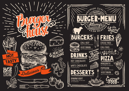 Burger restaurant menu on blackboard. Food flyer for bar and cafe. Design template with vintage hand-drawn illustrations.