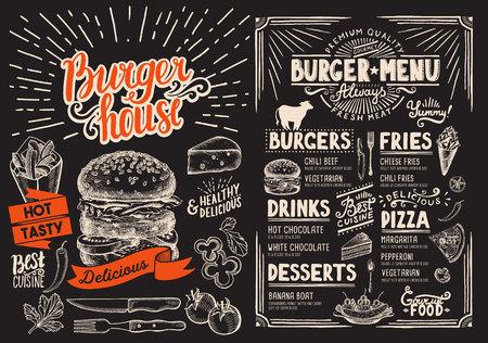 Burger restaurant menu on blackboard. Food flyer for bar and cafe. Design template with vintage hand-drawn illustrations.