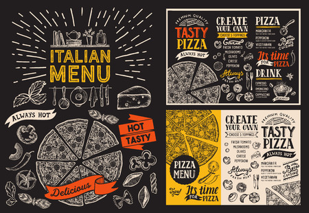 Pizza restaurant menu.  food flyer for bar and cafe. Design template with vintage hand-drawn illustrations on chalkboard.