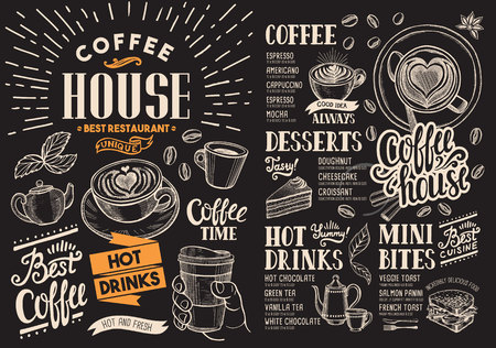 Coffee restaurant menu on chalkboard. drink flyer for bar and cafe. Design template with vintage hand-drawn food illustrations.