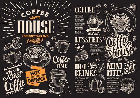 Menu del ristorante caffè sulla lavagna. drink flyer per bar e caffetteria. Modello di progettazione con illustrazioni di cibo disegnate a mano d'epoca.