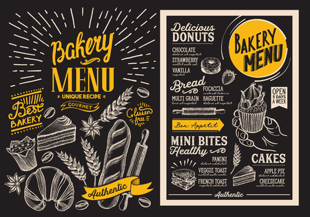 Bakery dessert menu for restaurant. Design template on chalkboard background with food hand-drawn graphic illustrations. Vector food flyer for bar and cafe.