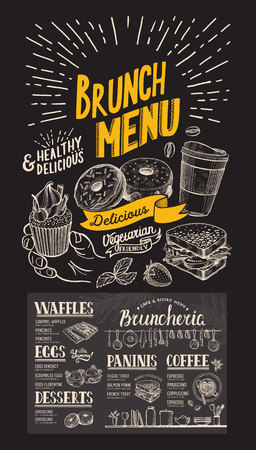 Brunch restaurant menu on chalkboard background. Vector food flyer for bar and cafe. Design template with vintage hand-drawn illustrations.