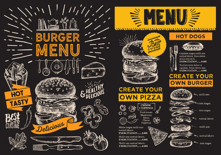 Burger flyer for restaurant.  food menu for bar and cafe. Design template with vintage hand-drawn illustrations.