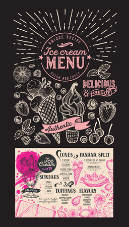 Ice cream menu for restaurant. Dessert food flyer for bar and cafe. Design template with vintage hand-drawn illustrations.