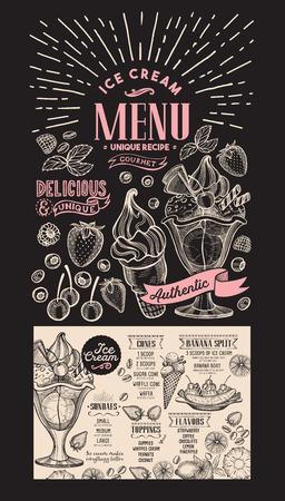 Ice cream restaurant menu. dessert food flyer for bar and cafe. Design template on chalkboard background with vintage hand-drawn illustrations.
