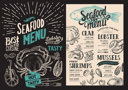 Seafood menu for restaurant.food menu for bar and cafe. Design template with vintage hand-drawn illustrations.