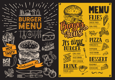 Burger restaurant menu.food menu for bar and cafe. Design template with vintage hand-drawn illustrations.