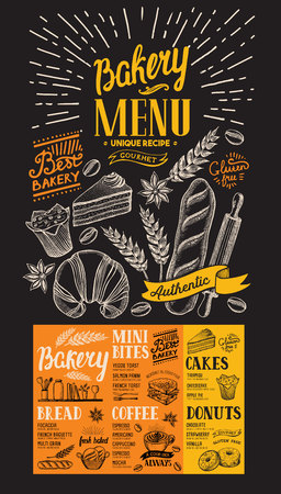 Dessert menu for bakery. Design template with food hand-drawn graphic illustrations. 向量圖像
