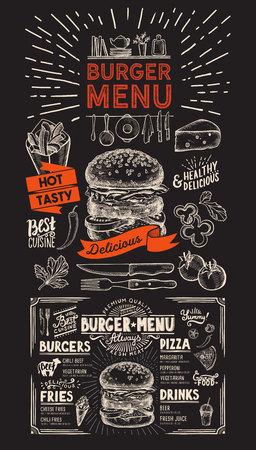 Burger restaurant menu on chalkboard background. food menu for bar and cafe. Design template with vintage hand-drawn illustrations.