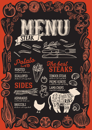 Steak menu template for restaurant on a blackboard background vector illustration brochure for food and drink cafe. Design layout with vintage lettering and frame of hand-drawn graphic vegetables.