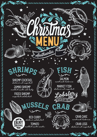 Christmas menu template for seafood restaurant and cafe on a blackboard background vector illustration brochure for xmas dinner celebration. Poster with vintage lettering and holiday hand-drawn graphic decorations. 写真素材 - 108499554