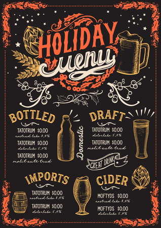 Christmas menu template for beer restaurant and bar on a blackboard background vector illustration brochure for xmas night celebration. Poster with vintage lettering and holiday hand-drawn graphic decorations.