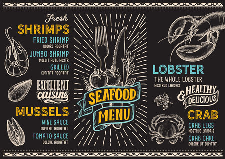 Seafood menu template for restaurant on a blackboard background vector illustration brochure for food and drink cafe. Design layout with lettering and doodle hand-drawn graphic icons.
