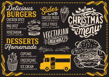 Christmas menu for food truck on blackboard background vector illustration template for xmas night celebration. Design poster with vintage lettering and holiday hand-drawn graphic. Vector Illustration