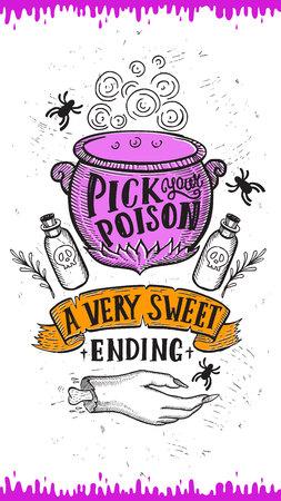 Uitnodiging voor Halloween met vakantie decoratie pot en zombie hand vector illustratie banner voor heks, kostuums, horrorfeest. Ontwerp flyer met vintage letters en handgetekende grafische elementen.