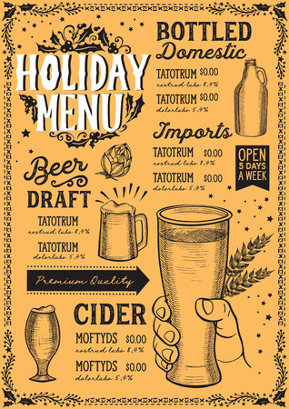 Christmas menu template for beer restaurant and bar on yellow background vector illustration brochure for xmas night celebration. Design poster with lettering and holiday hand-drawn graphic decorations.