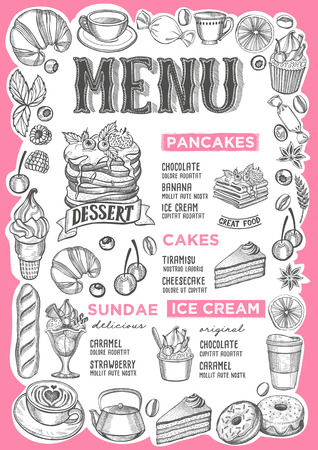 Dessert menu template for restaurant on white background vector illustration brochure for food and drink cafe. Design layout with vintage lettering and frame of hand-drawn graphic fruits and sweets.