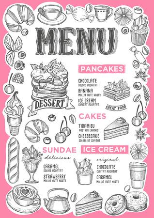 Dessertmenüschablone für Restaurant auf weißem Hintergrund Vektorillustrationsbroschüre für Essen und Trinken Café. Design-Layout mit Vintage-Schriftzug und Rahmen von handgezeichneten grafischen Früchten und Süßigkeiten.