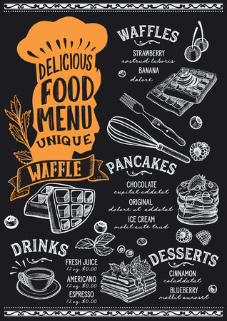 Waffle and pancake menu template for restaurant on a blackboard background vector illustration brochure for gourmet food and drink cafe. Design layout with vintage chefs hat lettering and doodle hand-drawn graphic.