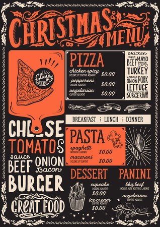 Christmas menu template for restaurant and cafe on a blackboard background vector illustration food brochure for xmas dinner celebration. Design with vintage lettering and holiday hand-drawn graphic decorations.