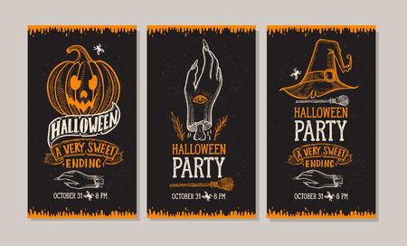 Set van halloween uitnodiging met vakantie decoratie pompoen en zombie hand vector illustratie banner voor heks, kostuums, horrorfeest. Ontwerp flyer met vintage letters en handgetekende grafische elementen.