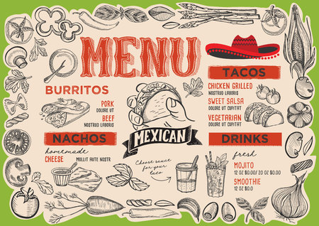 Mexican menu template for restaurant vector illustration brochure for food and drink cafe. Design layout with vintage lettering and frame of hand-drawn graphic vegetables.